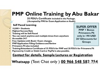 PMP 35 PDU's Training by Abu Bakar - Online [Now available online also]