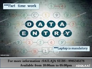 Irrespective of Age,Experience & Qualification part time jobs welcomes you from SEBS