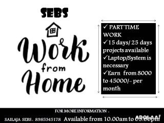 Feed your starving family now through the earnings from part time jobs offered by SEBS