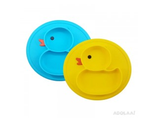 Hot Selling Factory for No BPA Cute Duck Shape Baby Silicone Plate for Feeding