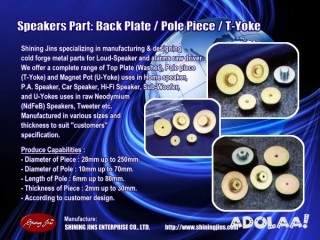 Speakers part T-Yoke and Pole Piece made in Taiwan