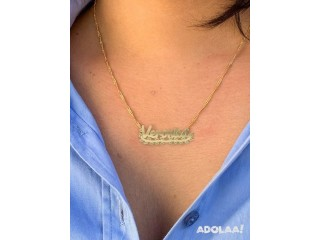 Personalized Name Necklace with Banner Gold Plated