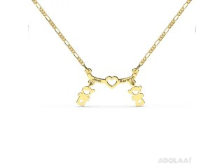 Boy and Girl Name Necklace Gold Plated