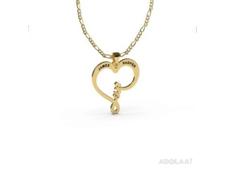 Heart Love Pendant With Name Gold Plated
