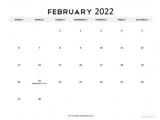 Schedule Your Entire Month with February 2022 Calendar Printable