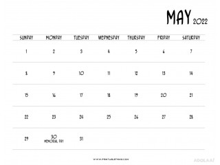 Plan Your Holidays with the assistance of the May 2022 Printable Calendar