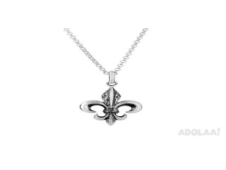 Buy Sterling Silver Carved Fleur De Lis Pendant On 18in Chain