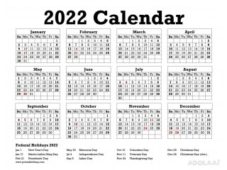 Make Use of 2022 Calendar Printable PDF to Schedule Your Work