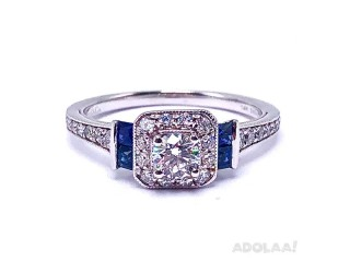 Buy Diamond and Sapphire Engagement Ring with White Gold