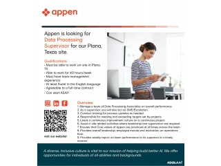 Appen Opportunities!   Looking for Data Processing Supervisor   Plano, Texas, USA