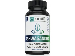 Zhou Nutrition Ashwagandha, Natural Adaptogenic Supplement with Rhodiola, for Stress and Occasional Anxiety Relief, 30 Servings, Multi, 60 Count