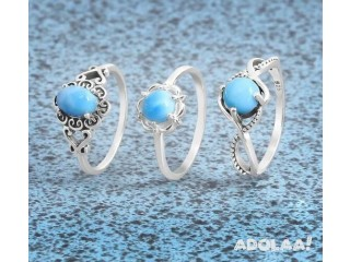 Netural Sterling Silver Larimar stone rings at Wholesale price